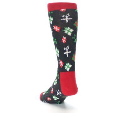 Image of Grey Red Green Christmas Gifts Men's Dress Socks (side-2-back-16)
