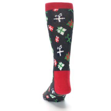 Image of Grey Red Green Christmas Gifts Men's Dress Socks (back-17)