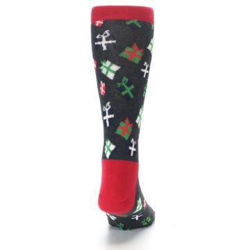 Image of Grey Red Green Christmas Gifts Men's Dress Socks (back-19)
