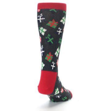 Image of Grey Red Green Christmas Gifts Men's Dress Socks (side-1-back-20)