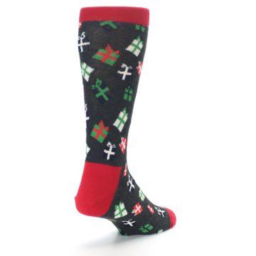 Image of Grey Red Green Christmas Gifts Men's Dress Socks (side-1-back-21)