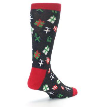 Image of Grey Red Green Christmas Gifts Men's Dress Socks (side-1-back-22)
