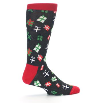 Image of Grey Red Green Christmas Gifts Men's Dress Socks (side-1-24)