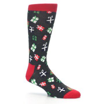 Image of Grey Red Green Christmas Gifts Men's Dress Socks (side-1-26)