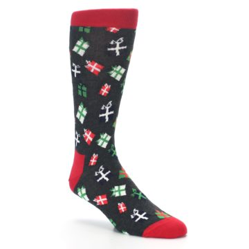 Image of Grey Red Green Christmas Gifts Men's Dress Socks (side-1-27)