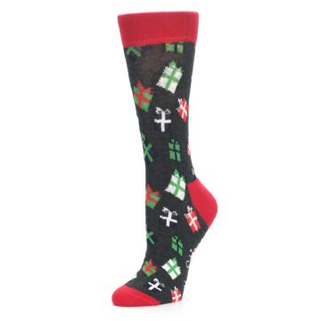 Image of Grey Red Green Christmas Gifts Women's Dress Socks (side-2-09)