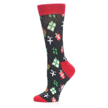 Image of Grey Red Green Christmas Gifts Women's Dress Socks (side-2-11)