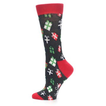 Image of Grey Red Green Christmas Gifts Women's Dress Socks (side-2-12)