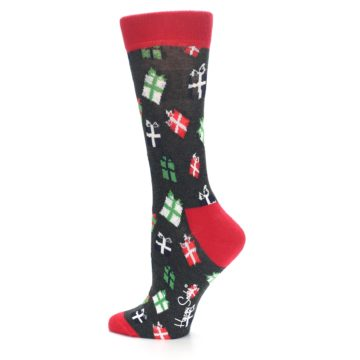 Image of Grey Red Green Christmas Gifts Women's Dress Socks (side-2-13)