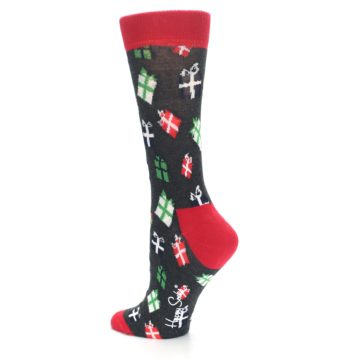 Image of Grey Red Green Christmas Gifts Women's Dress Socks (side-2-back-14)