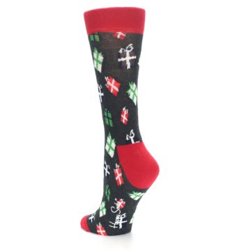 Image of Grey Red Green Christmas Gifts Women's Dress Socks (side-2-back-15)