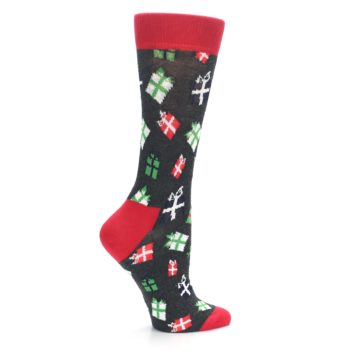 Image of Grey Red Green Christmas Gifts Women's Dress Socks (side-1-24)