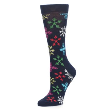 Image of Navy Multicolor Flakes Women's Dress Socks (side-2-09)