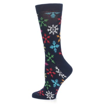 Image of Navy Multicolor Flakes Women's Dress Socks (side-2-12)