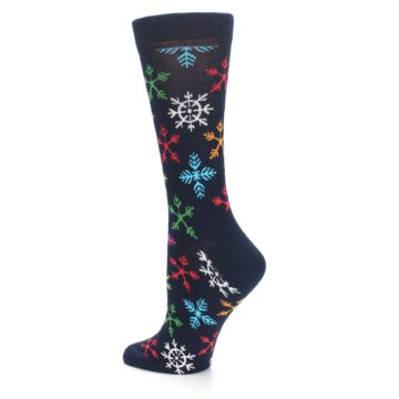 Image of Navy Multicolor Flakes Women's Dress Socks (side-2-13)