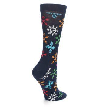 Image of Navy Multicolor Flakes Women's Dress Socks (side-1-back-21)