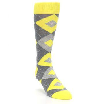 Image of Lemon Yellow Gray Argyle Wedding Groomsmen Men's Dress Socks (side-1-front-02)