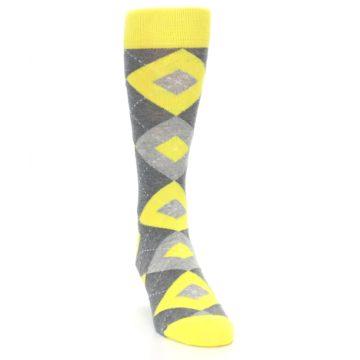 Image of Lemon Yellow Gray Argyle Wedding Groomsmen Men's Dress Socks (side-1-front-03)