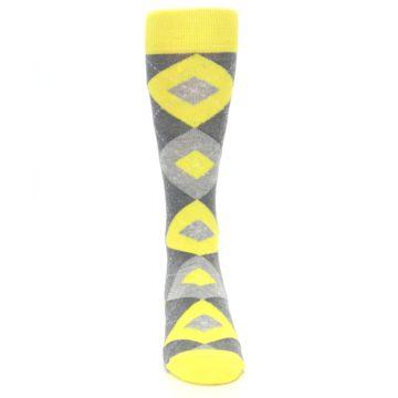 Image of Lemon Yellow Gray Argyle Wedding Groomsmen Men's Dress Socks (front-04)