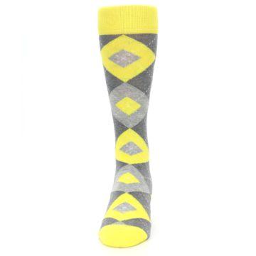 Image of Lemon Yellow Gray Argyle Wedding Groomsmen Men's Dress Socks (front-05)
