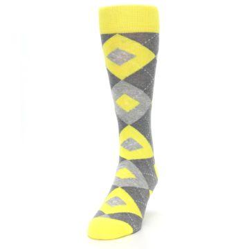 Image of Lemon Yellow Gray Argyle Wedding Groomsmen Men's Dress Socks (side-2-front-06)