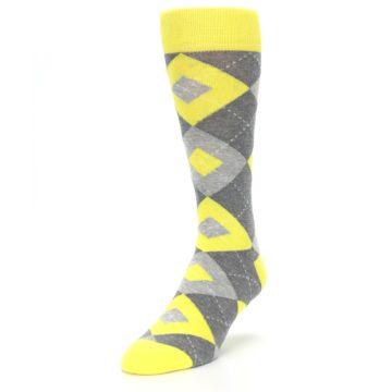 Image of Lemon Yellow Gray Argyle Wedding Groomsmen Men's Dress Socks (side-2-front-07)