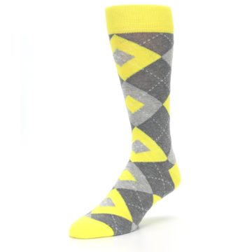 Image of Lemon Yellow Gray Argyle Wedding Groomsmen Men's Dress Socks (side-2-front-08)