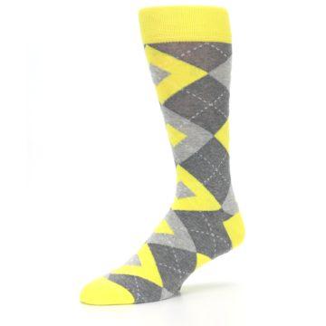 Image of Lemon Yellow Gray Argyle Wedding Groomsmen Men's Dress Socks (side-2-09)