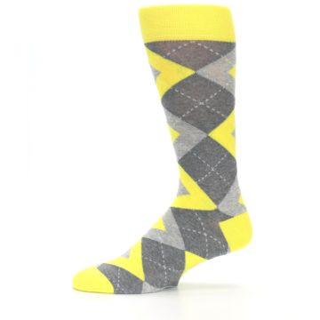 Image of Lemon Yellow Gray Argyle Wedding Groomsmen Men's Dress Socks (side-2-11)