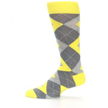 Image of Lemon Yellow Gray Argyle Wedding Groomsmen Men's Dress Socks (side-2-12)