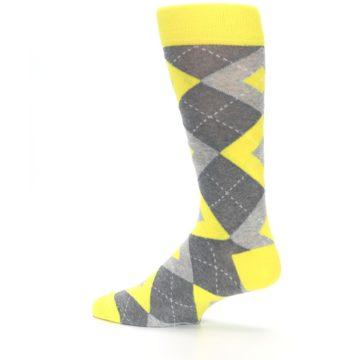 Image of Lemon Yellow Gray Argyle Wedding Groomsmen Men's Dress Socks (side-2-13)