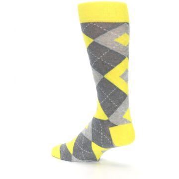 Image of Lemon Yellow Gray Argyle Wedding Groomsmen Men's Dress Socks (side-2-back-14)