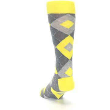 Image of Lemon Yellow Gray Argyle Wedding Groomsmen Men's Dress Socks (side-2-back-16)