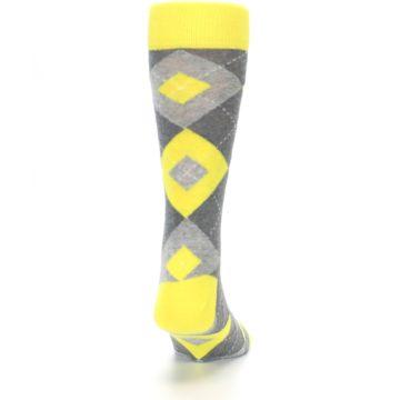 Image of Lemon Yellow Gray Argyle Wedding Groomsmen Men's Dress Socks (back-19)