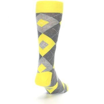 Image of Lemon Yellow Gray Argyle Wedding Groomsmen Men's Dress Socks (side-1-back-20)