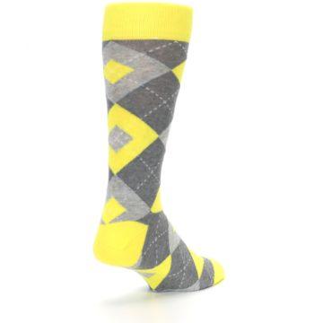 Image of Lemon Yellow Gray Argyle Wedding Groomsmen Men's Dress Socks (side-1-back-21)