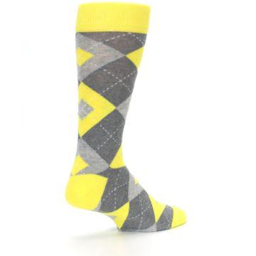 Image of Lemon Yellow Gray Argyle Wedding Groomsmen Men's Dress Socks (side-1-back-22)