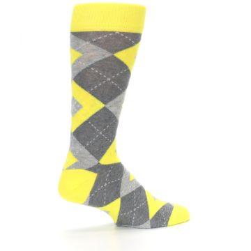 Image of Lemon Yellow Gray Argyle Wedding Groomsmen Men's Dress Socks (side-1-23)