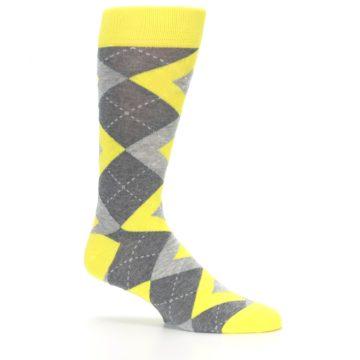 Image of Lemon Yellow Gray Argyle Wedding Groomsmen Men's Dress Socks (side-1-25)