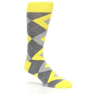 Image of Lemon Yellow Gray Argyle Wedding Groomsmen Men's Dress Socks (side-1-26)