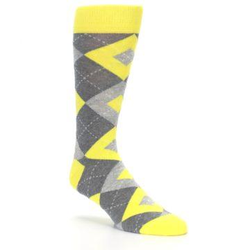Image of Lemon Yellow Gray Argyle Wedding Groomsmen Men's Dress Socks (side-1-27)