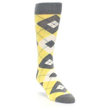 Image of Sunbeam Yellow Gray Argyle Men's Dress Socks (side-1-front-02)