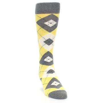 Image of Sunbeam Yellow Gray Argyle Men's Dress Socks (side-1-front-03)