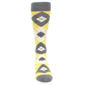 Image of Sunbeam Yellow Gray Argyle Men's Dress Socks (front-04)