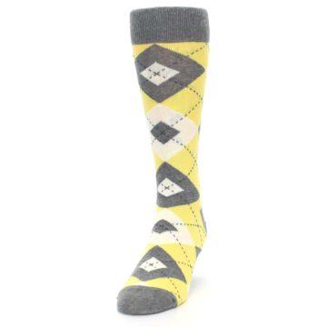 Image of Sunbeam Yellow Gray Argyle Men's Dress Socks (side-2-front-06)