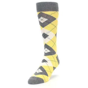 Image of Sunbeam Yellow Gray Argyle Men's Dress Socks (side-2-front-07)