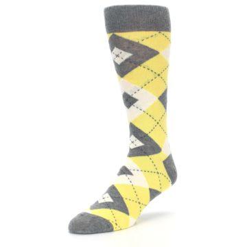 Image of Sunbeam Yellow Gray Argyle Men's Dress Socks (side-2-front-08)