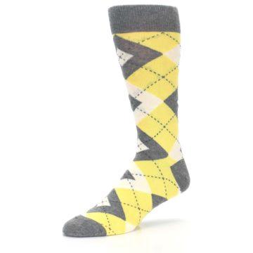 Image of Sunbeam Yellow Gray Argyle Men's Dress Socks (side-2-09)