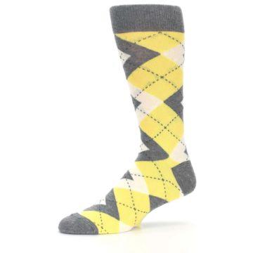 Image of Sunbeam Yellow Gray Argyle Men's Dress Socks (side-2-10)
