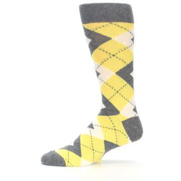 Image of Sunbeam Yellow Gray Argyle Men's Dress Socks (side-2-11)
